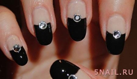 длинные ногти черный френч