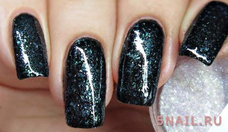 черный лак на длинных ногтях