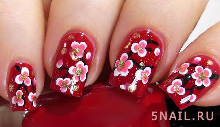 цветочные ноготки