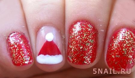 красные ногти к новому году