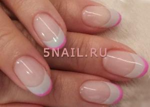 бело розовые ногти