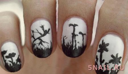 черная улыбка на ногтях