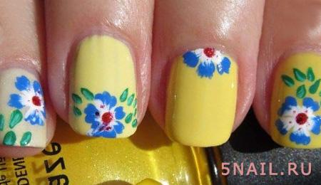 желтое покрытие на ногтях