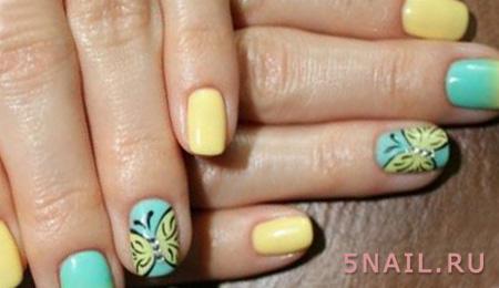 двухцветное покрытие ногтей