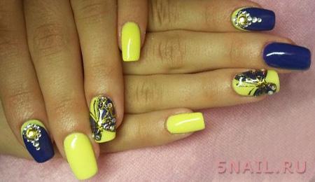желтые ногти с рисунком