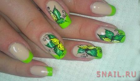 зеленый лак с бабочками