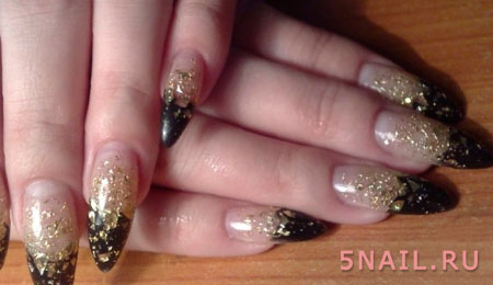 острые ногти черные с золотом