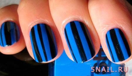 черно синяя комбинация лаков