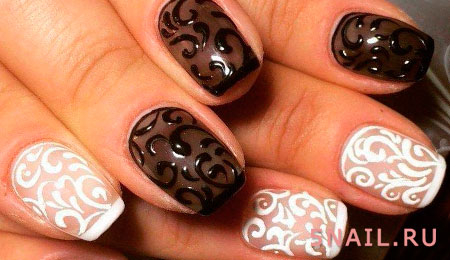 утонченная роспись на ногтях
