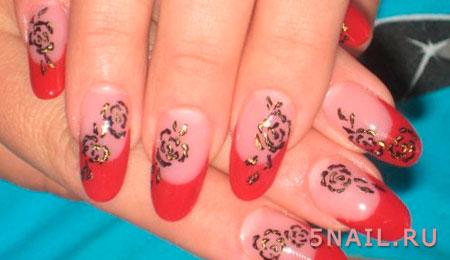 красные ногти во французском стиле