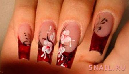 нарощенные ногти красные