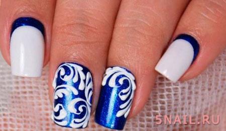 зимние узоры на ногтях