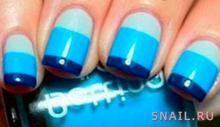 оттенки голубого лака на ногтях