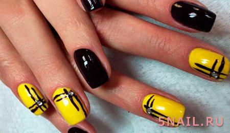 черно желтые ногти