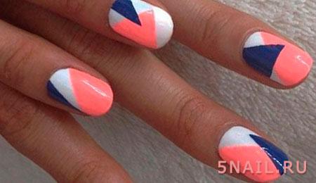 трехцветные ногти геометрия