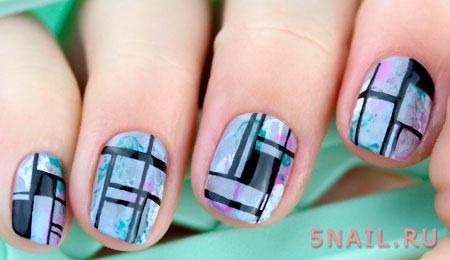 сложная геометрия на ногтях