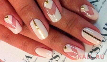 белый дизайн ногтей геометрия