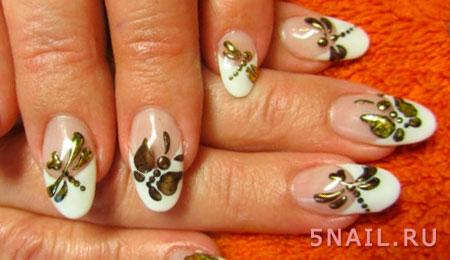 френч с бабочками стрекозами