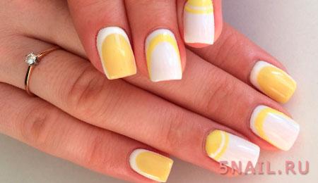 желто белый дизайн ногтей
