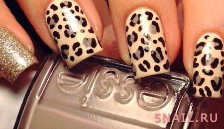 леопардовый окрас на ногтях