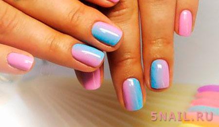 розово голубые ногти