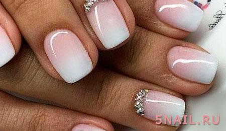 Омбре с белым цветом ногти