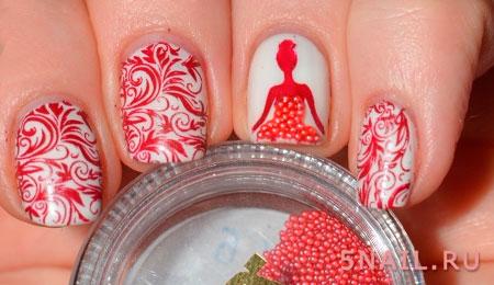 рисунок на ногтях с бисером