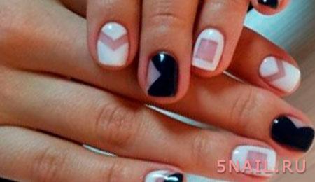 черно белые ногти геометрия