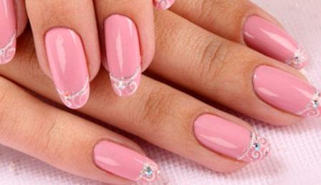 френч на розовых ногтях