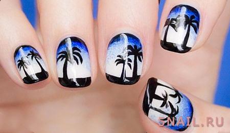 рисунок на ногтях пальмы