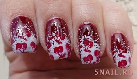 рисунок вишни на ногтях