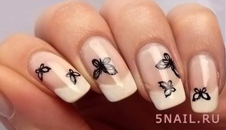 молочный лак с бабочками