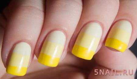 желтые ногти омбре