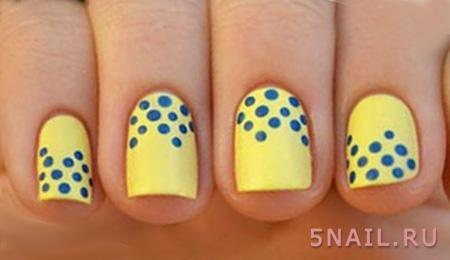 желто синий нейл дизайн