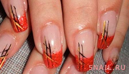 Дизайн ногтей красный френч с рисунком
