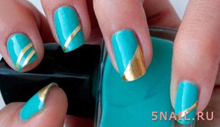 полоски золото на ногтях