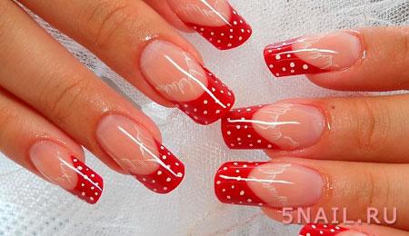 Красный френч с рисунком на квадратных ногтях