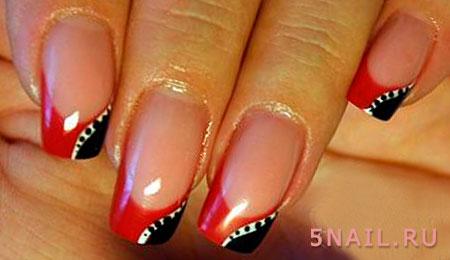 черно красный лак на ногтях