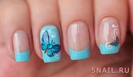 нейл дизайн с бабочками