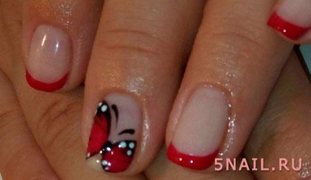 ногти с красными кончиками
