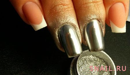блестки металлик на ногтях