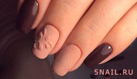 оттенки коричневого на ногтях