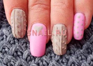 Как сделать эффект свитера на ногтях