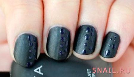 короткие ногти с каплями