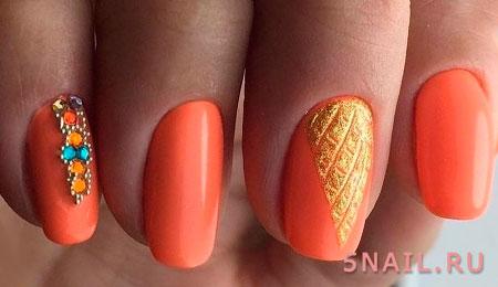 нейл дизайн оранжевый
