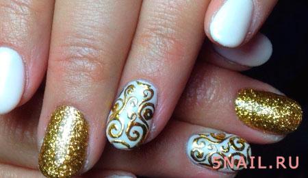 имитация золота на ногтях