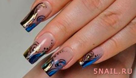 длинные ногти синий френч