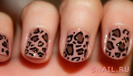 Дизайн ногтей с леопардовым рисунком