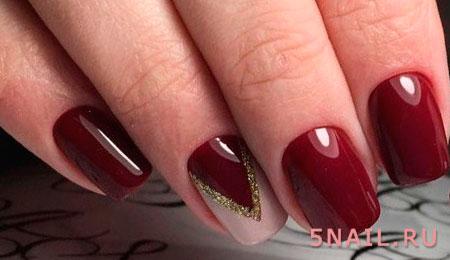 ногти темно красного цвета