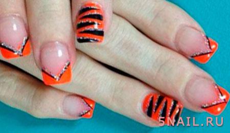 тигровый принт на ногтях
